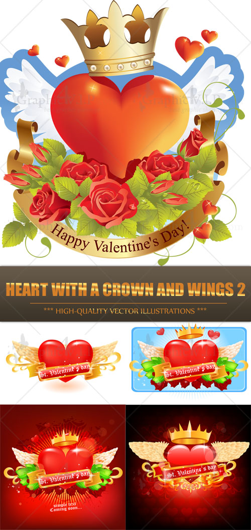 Heart with a Crown and Wings 2 - Stock Vectors