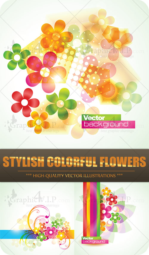 Stylish Colorful Flowers - Stock Vectors