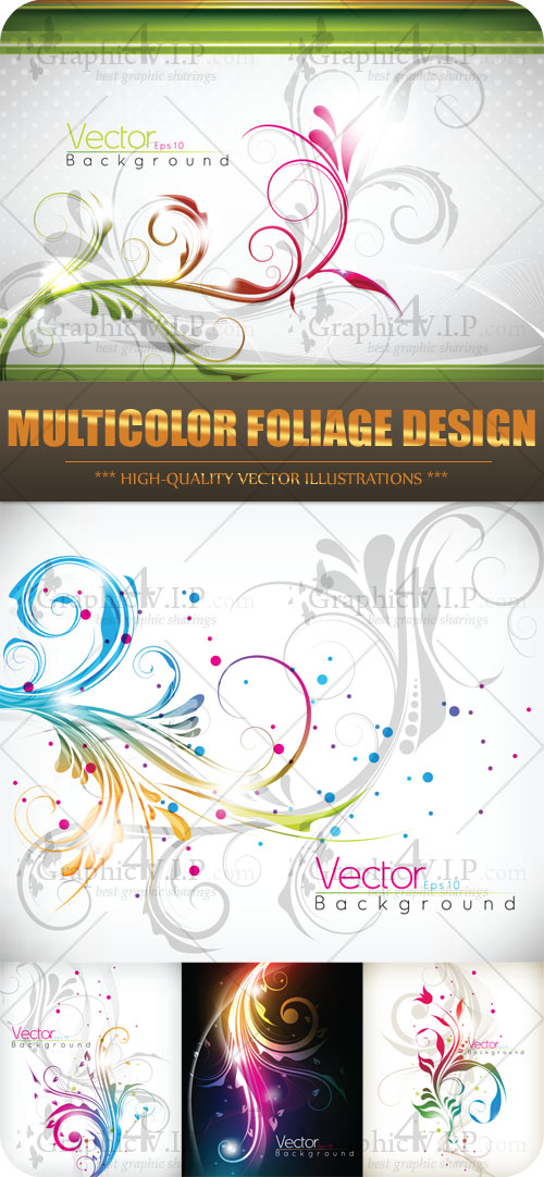 Multicolor Foliage Design - Stock Vectors
