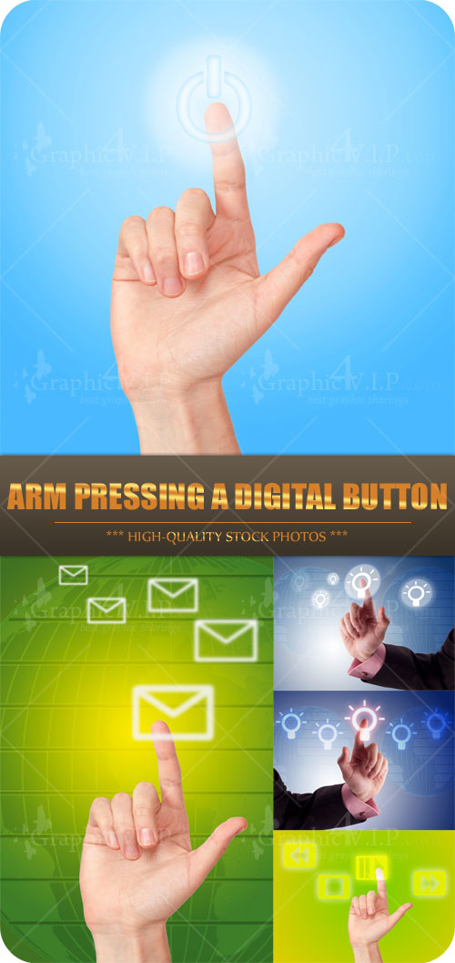 Arm Pressing a Digital Button - Stock Photos