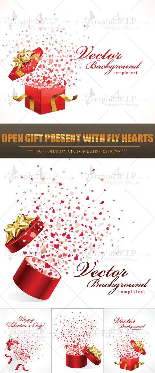 Open Gift Present with Fly Hearts - Stock Vectors