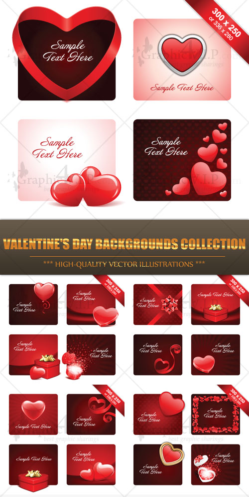 Valentine's Day Backgrounds Collection - Stock Vectors