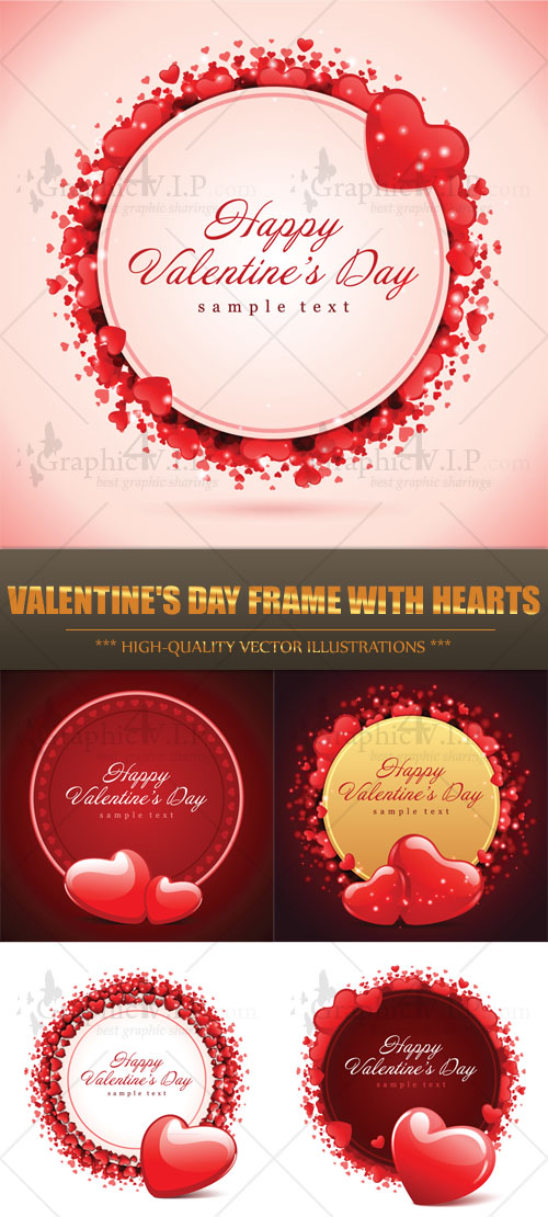 Valentine's Day Frame with Hearts - Stock Vectors