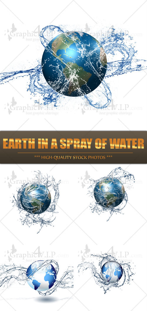 Earth in a Spray of Water - Stock Photos