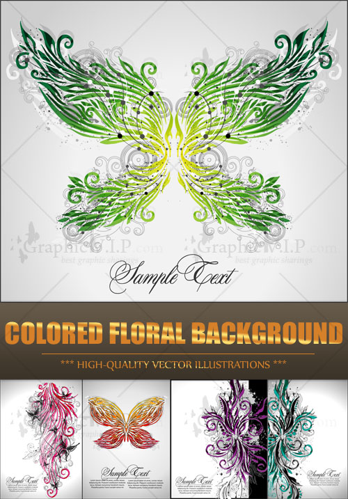 Colored Floral Background - Stock Vectors