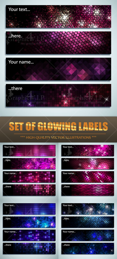 Set of Glowing Labels - Stock Vectors