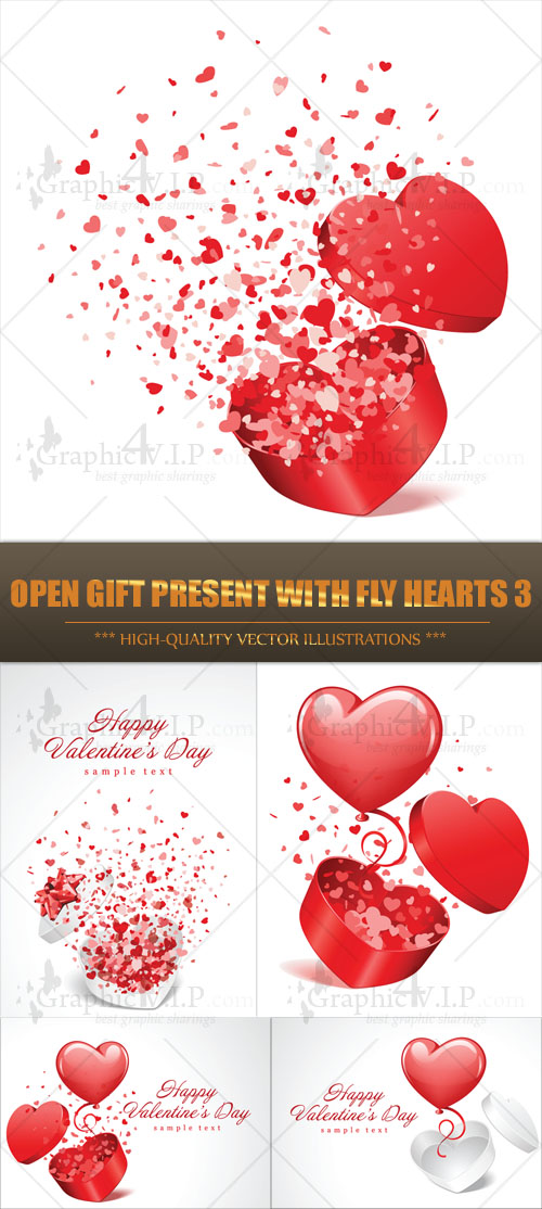Open Gift Present with Fly Hearts 3 - Stock Vectors