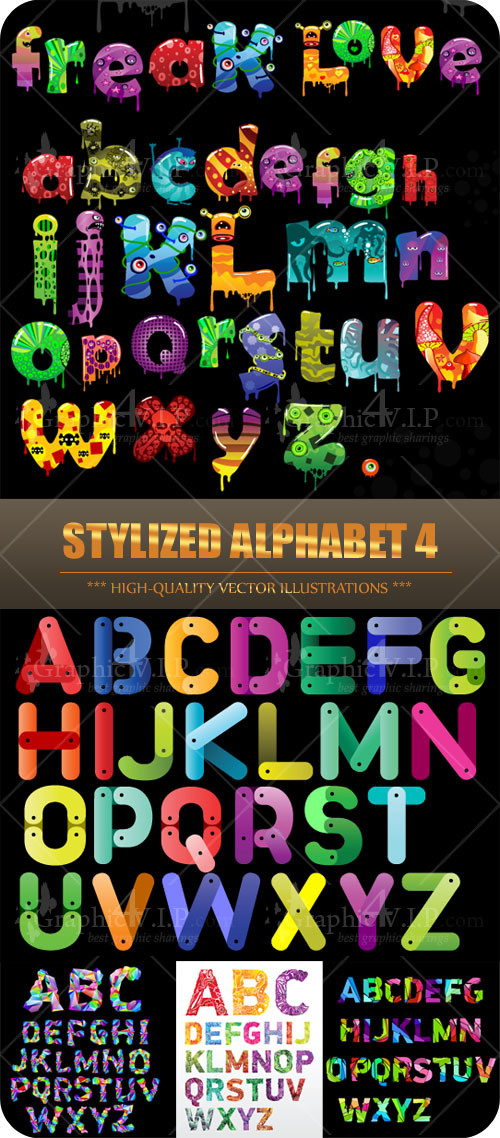 Stylized Alphabet 4 - Stock Vectors