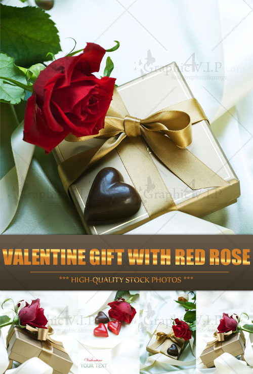 Valentine Gift with Red Rose - Stock Photos