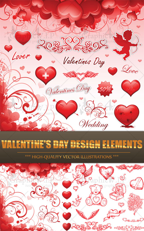 Valentine's Day Design Elements - Stock Vectors