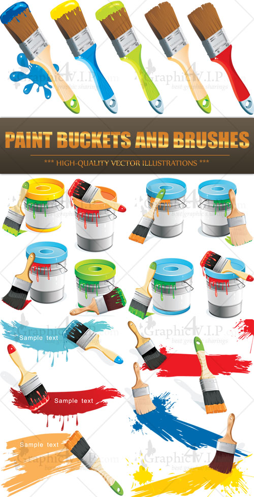 Paint Buckets and Brushes - Stock Vectors
