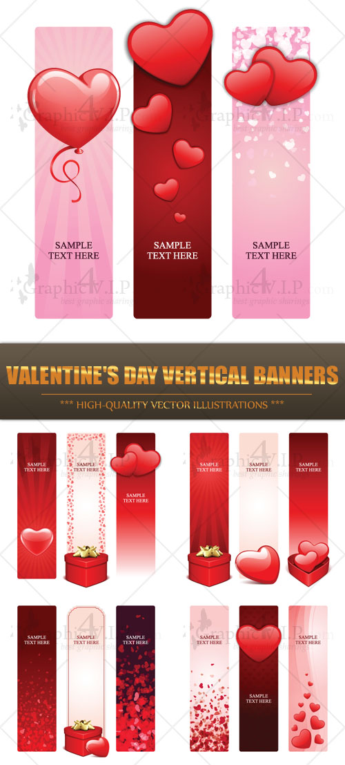 Valentine's Day Vertical Banners - Stock Vectors