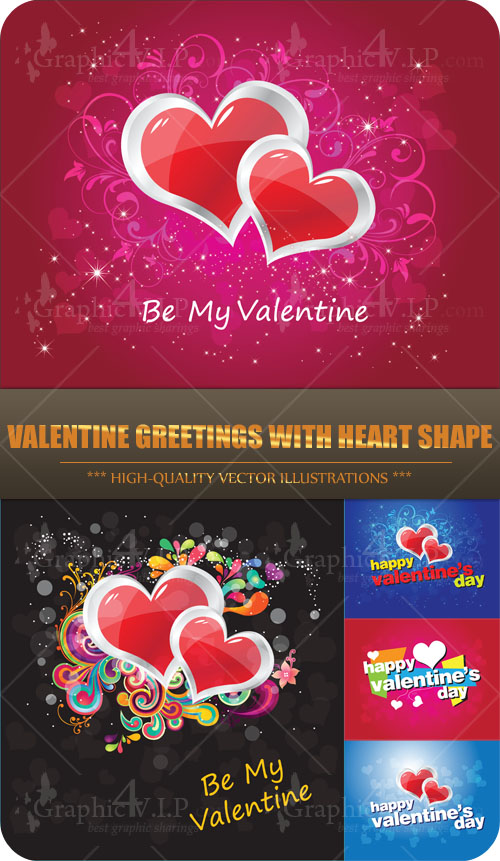 Valentine Greetings with Heart Shape - Stock Vectors