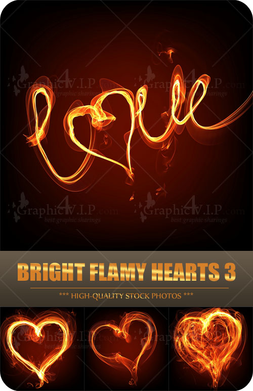 Bright Flamy Hearts 3 - Stock Photos