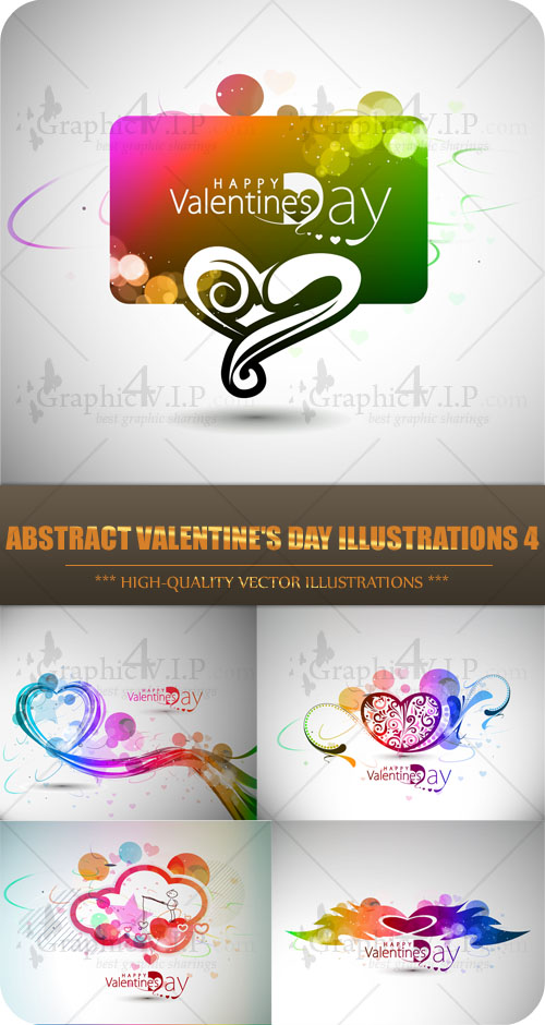 Abstract Valentine's Day Illustrations 4 - Stock Vectors