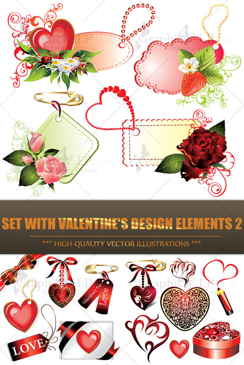 Set with Valentine's Design Elements 2 - Stock Vectors