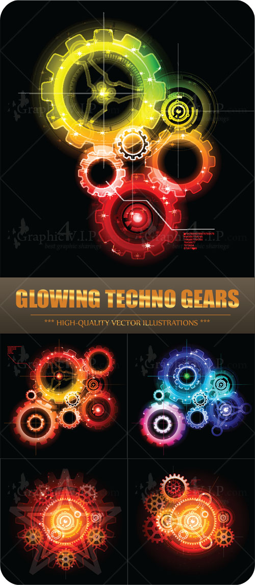 Glowing Techno Gears - Stock Vectors