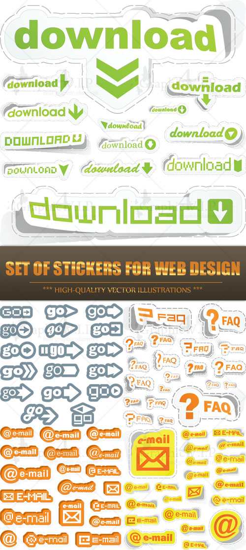 Set of Stickers for Web Design - Stock Vectors