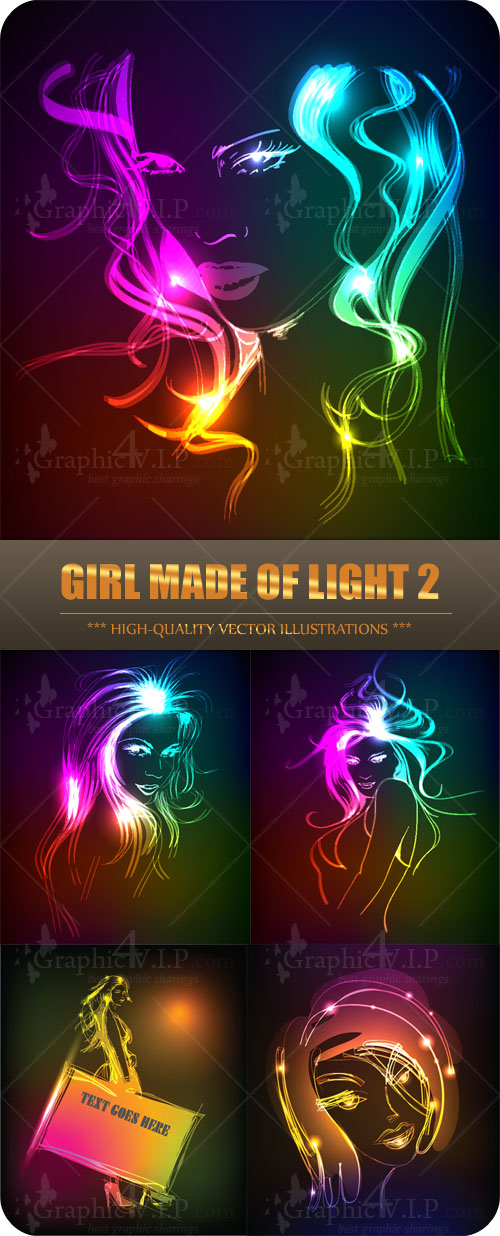 Girl Made of Light 2 - Stock Vectors