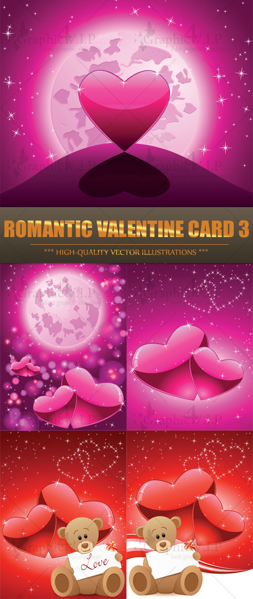 Romantic Valentine Card 3 - Stock Vectors