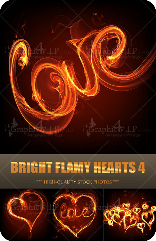 Bright Flamy Hearts 4 - Stock Photos