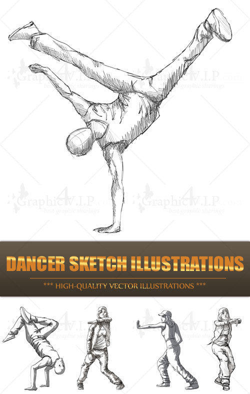 Dancer Sketch Illustrations - Stock Vectors
