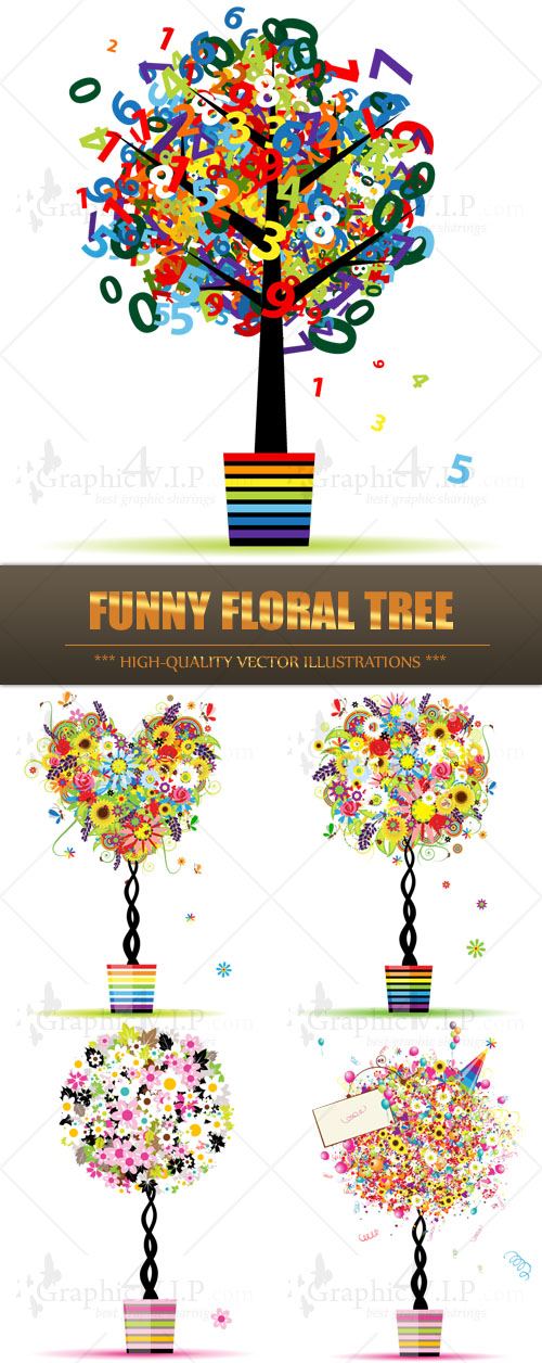 Funny Floral Tree - Stock Vectors