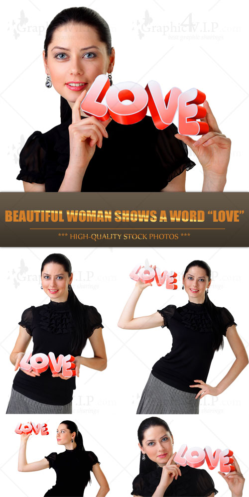Beautiful Woman Shows a Word Love - Stock Photos