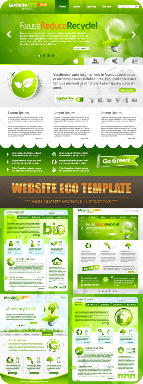 Website ECO Template - Stock Vectors