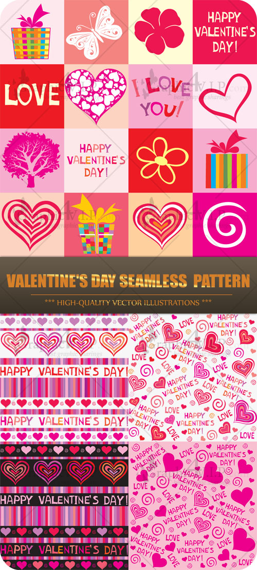 Valentine's Day Seamless Pattern - Stock Vectors