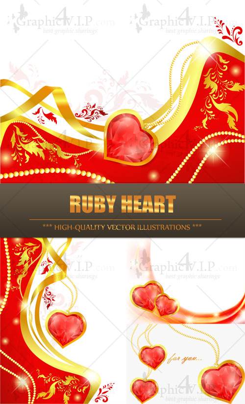 Ruby Heart - Stock Vectors