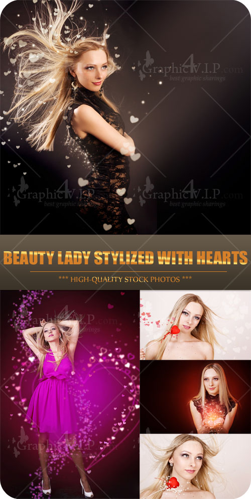Beauty Lady Stylized with Hearts - Stock Photos