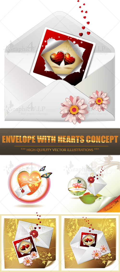 Envelope with Hearts Concept - Stock Vectors