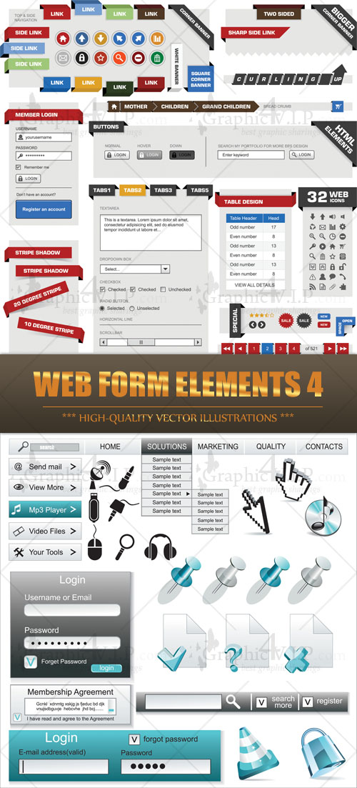 Web Form Elements 4 - Stock Vectors