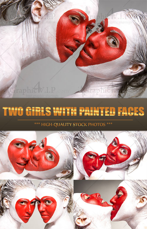 Two girls with Painted Faces - Stock Photos
