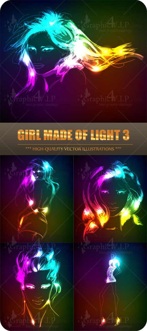 Girl Made of Light 3 - Stock Vectors