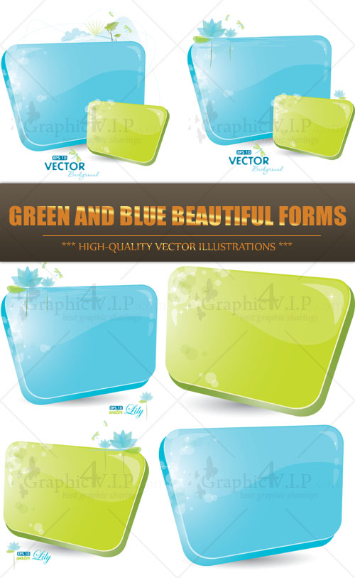 Green and Blue Beautiful Forms - Stock Vectors