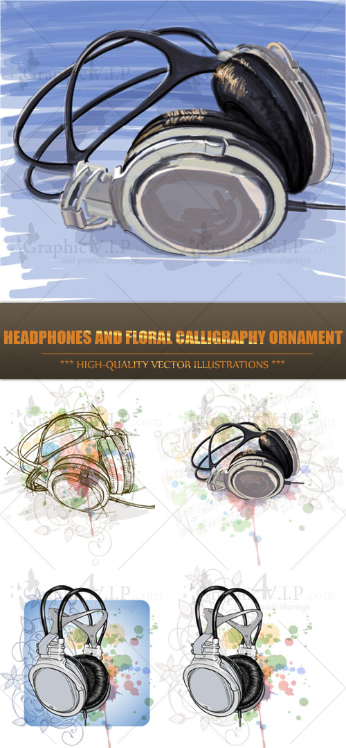 Headphones and Floral Calligraphy Ornament - Stock Vectors
