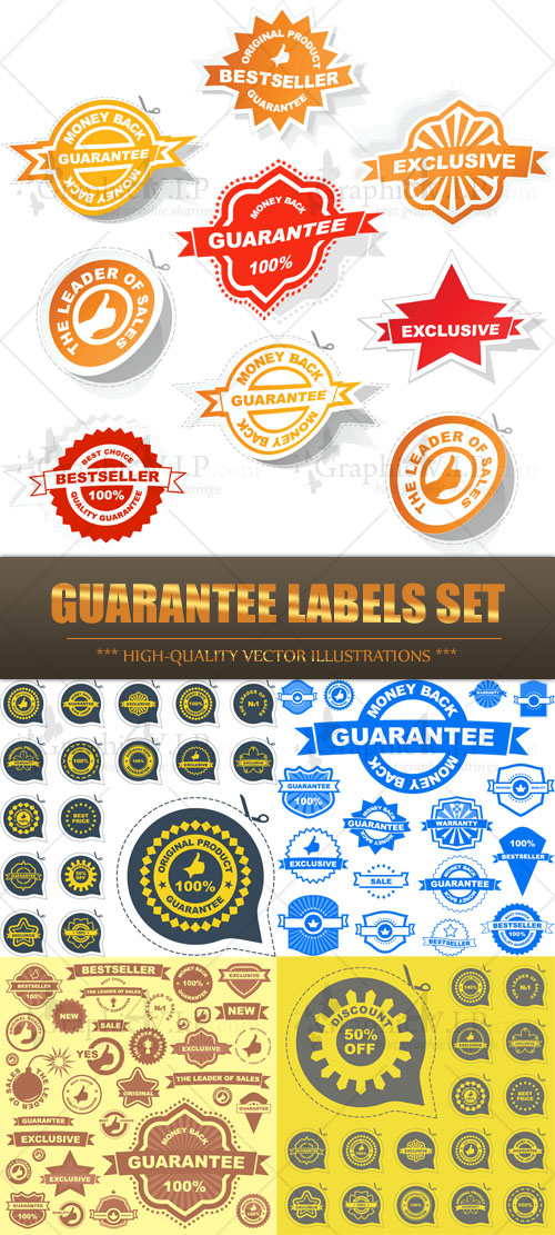 Guarantee Labels Set - Stock Vectors