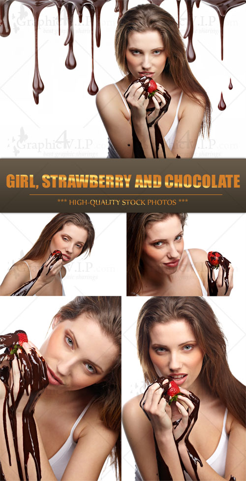 Girl, Strawberry and Chocolate - Stock Photos