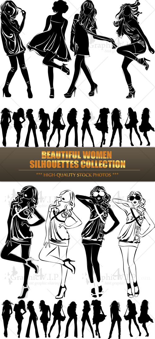 Beautiful Women Silhouettes Collection - Stock Vectors