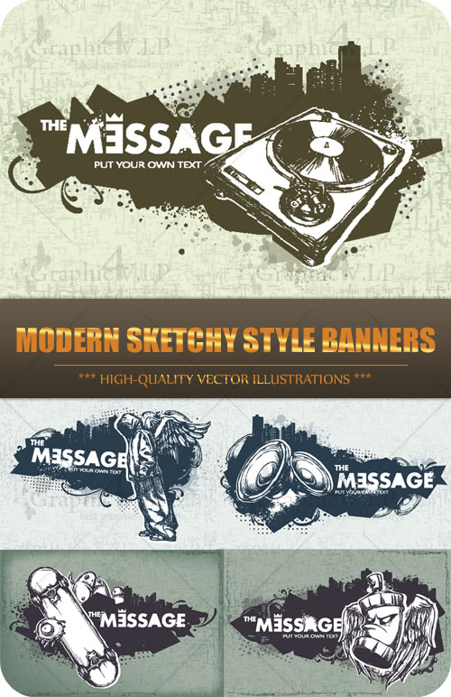 Modern Sketchy Style Banners - Stock Vectors