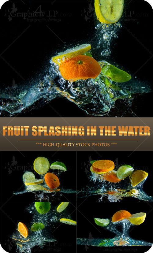Fruit Splashing in the Water - Stock Photos