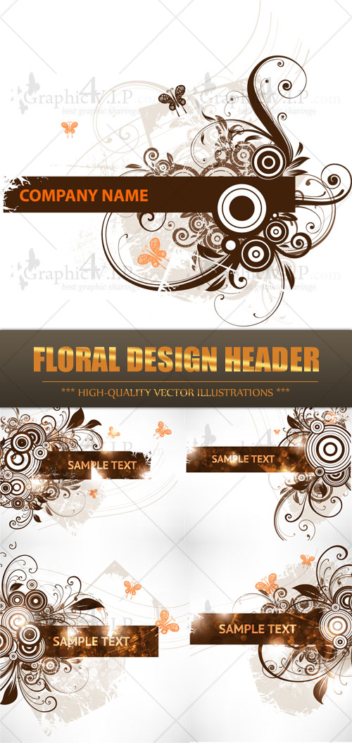 Floral Design Header - Stock Vectors