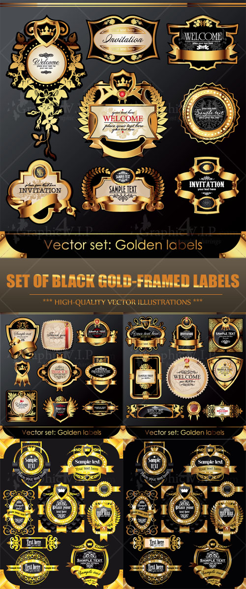Set of Black Gold-framed Labels - Stock Vectors