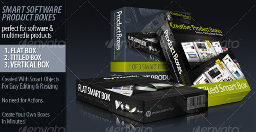 3 Smart 3D Product Boxes - PSD Templates