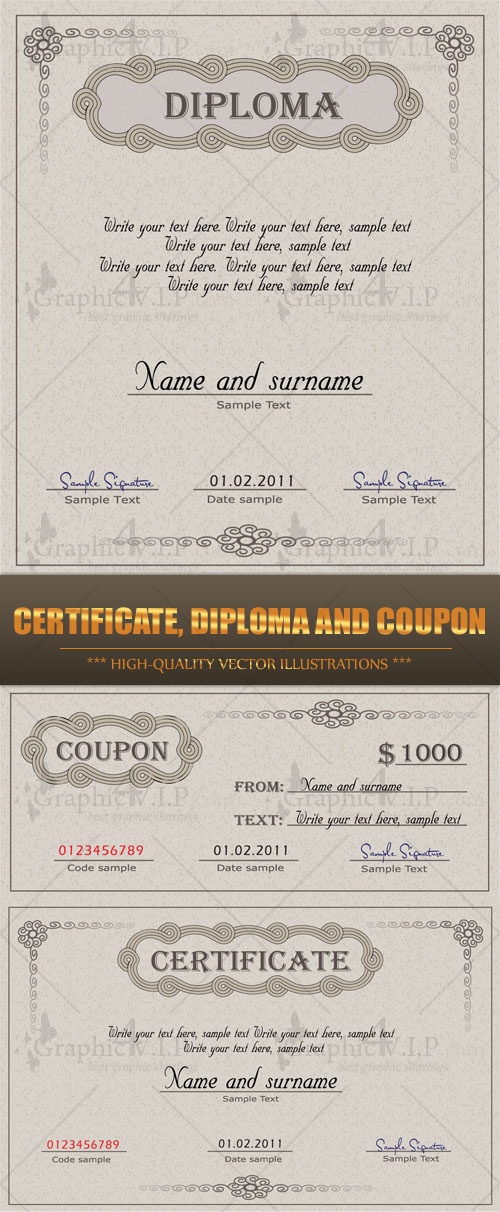Certificate, Diploma and Coupon - Stock Vectors