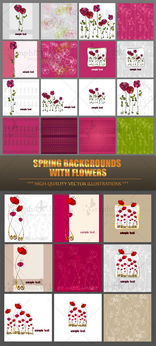 Spring Backgrounds with Flowers - Stock Vectors