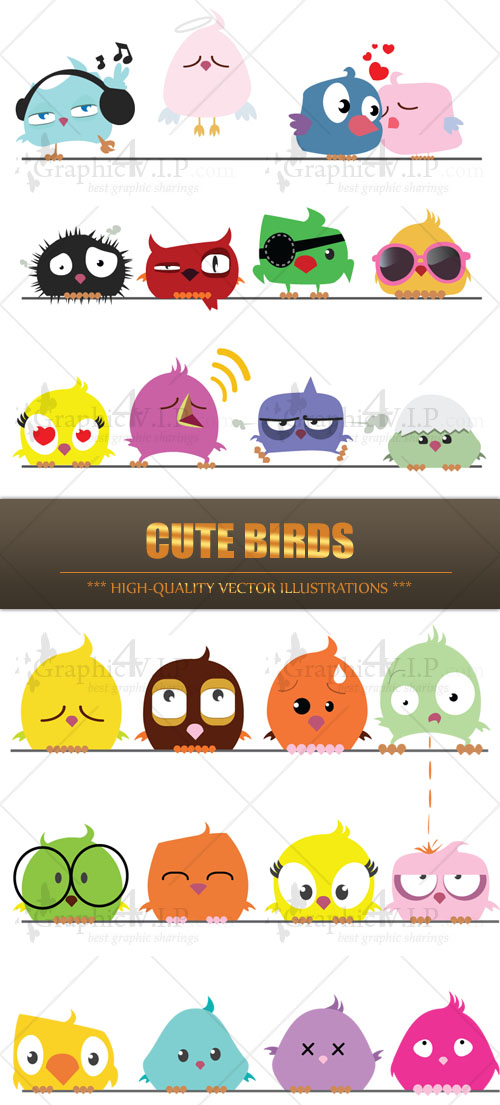 Cute Birds - Stock Vectors