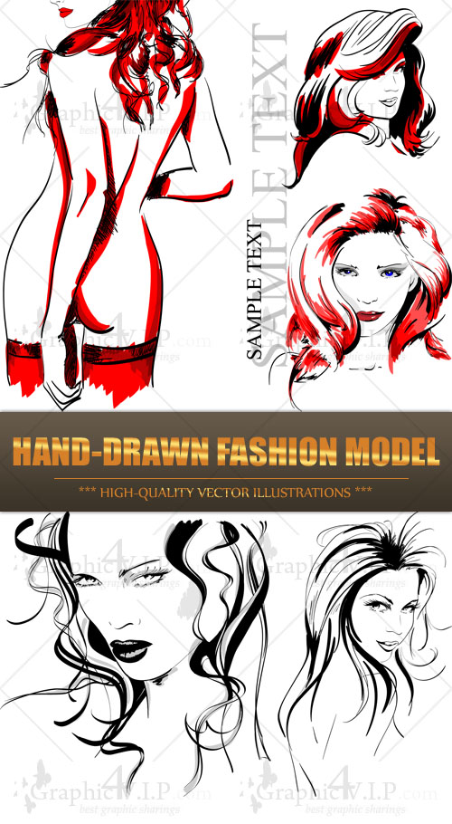 Hand-drawn Fashion Model - Stock Vectors